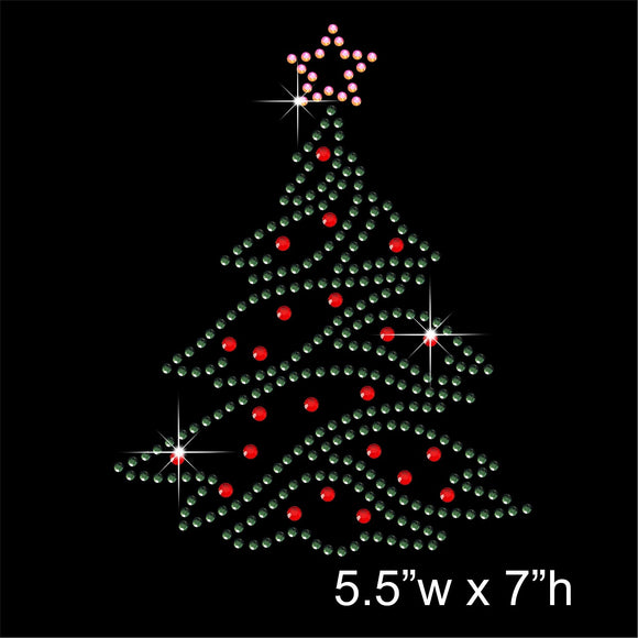 Christmas Tree Hotfix Rhinestone Transfer Diamante Motif, Iron-on Applique