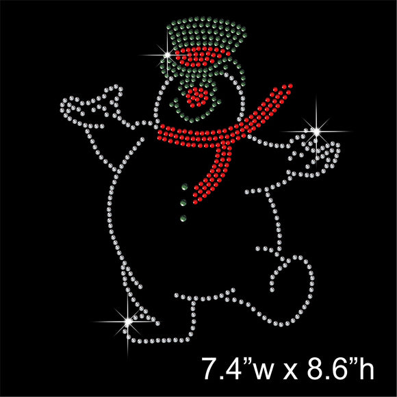 Christmas Snow Man Hotfix Rhinestone Transfer Diamante Motif, Iron-on Applique