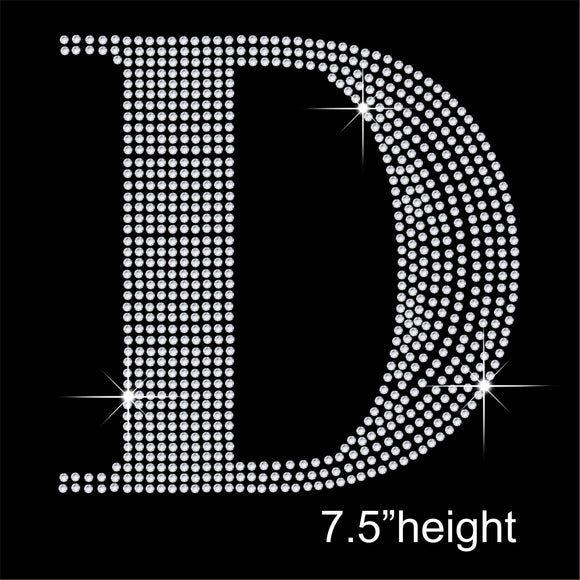 7.5 Inch high Capital letters Hotfix Rhinestone Transfer Diamante Motif, Iron on Applique