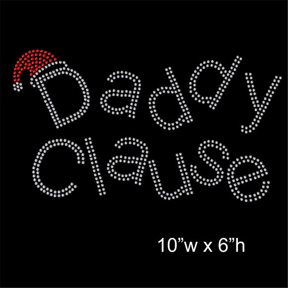 Christmas Daddy Clause Hotfix Rhinestone Transfer Diamante Motif, Iron on Applique