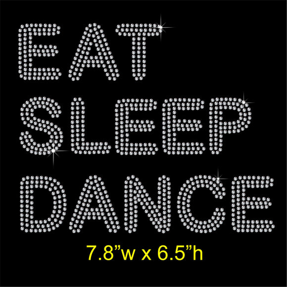 EAT SLEEP DANCE Hotfix Rhinestone Transfer Diamante Motif, Iron on Applique