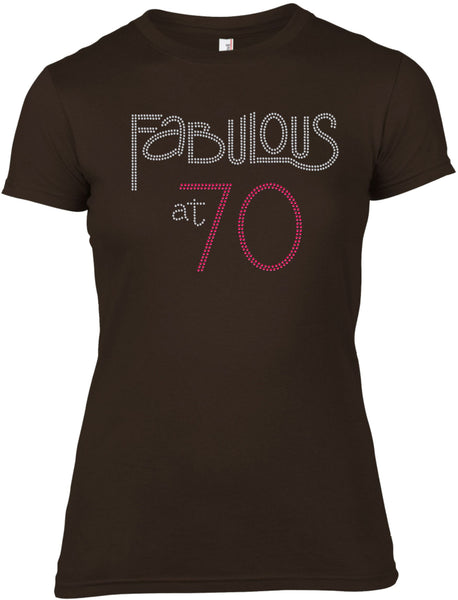 FABULOUS AT 70 BIRTHDAY RHINESTONE EMBELLISHED T-SHIRT FOR LADIES