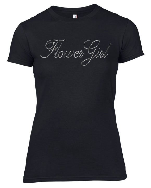 FLOWER GIRL RHINESTONE EMBELLISHED HEN DO PARTY T-SHIRT FOR LADIES