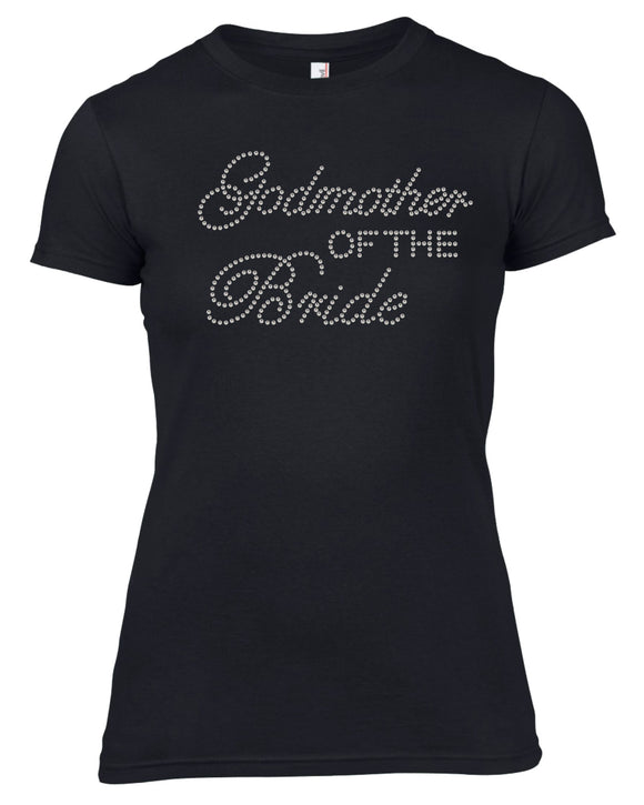 GOD MOTHER OF THE BRIDE RHINESTONE EMBELLISHED HEN DO PARTY T-SHIRT FOR LADIES