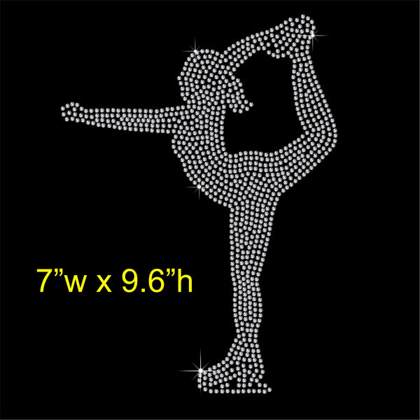 Ice Skater Dancer Hotfix Rhinestone Transfer Diamante Motif, Iron on Applique