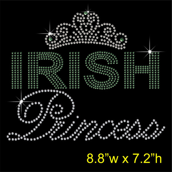 Irish Princess Hotfix Rhinestone Transfer Diamante Motif, Iron-on Applique