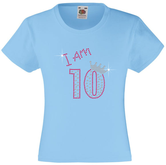I am 10 Girls T Shirt, Rhinestone Embellished Birthday T Shirt, Elegant Gift for their big day