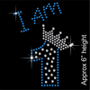 I am 1 Hotfix Rhinestone Transfer Diamante Motif, Iron on Applique
