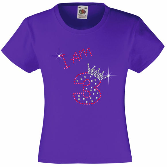 I am 3 Girls T Shirt, Rhinestone Embellished Birthday T Shirt, Elegant Gift for their big day