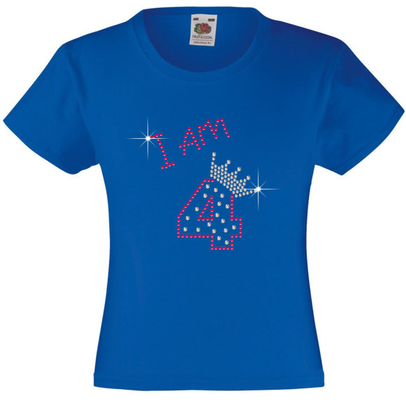 I am 4 Girls T Shirt, Rhinestone Embellished Birthday T Shirt, Elegant Gift for their big day