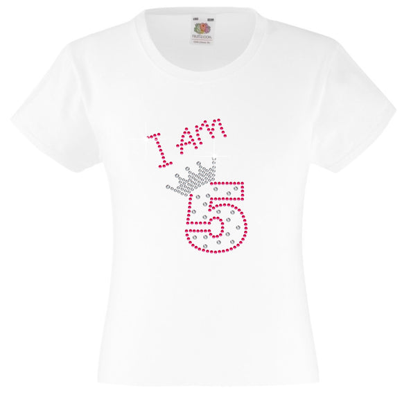 I am 5 Girls T Shirt, Rhinestone Embellished Birthday T Shirt, Elegant Gift for their big day