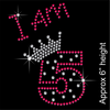 I am 5 Hotfix Rhinestone Transfer Diamante Motif, Iron on Applique