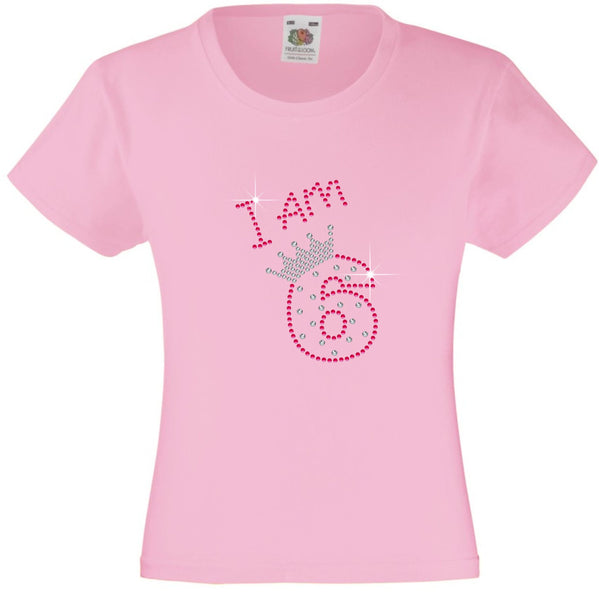 I am 6 Girls T Shirt, Rhinestone Embellished Birthday T Shirt, Elegant Gift for their big day