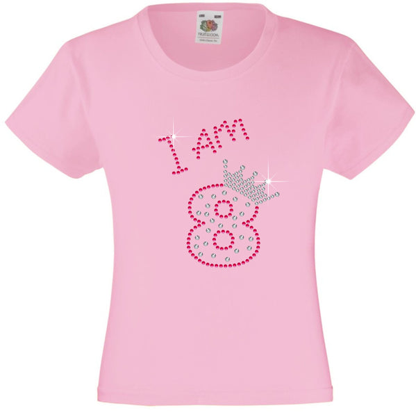I am 8 Girls T Shirt, Rhinestone Embellished Birthday T Shirt, Elegant Gift for their big day