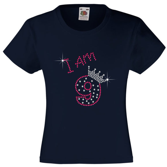 I am 9 Girls T Shirt, Rhinestone Embellished Birthday T Shirt, Elegant Gift for their big day