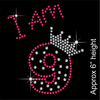 I am 9 Hotfix Rhinestone Transfer Diamante Motif, Iron on Applique