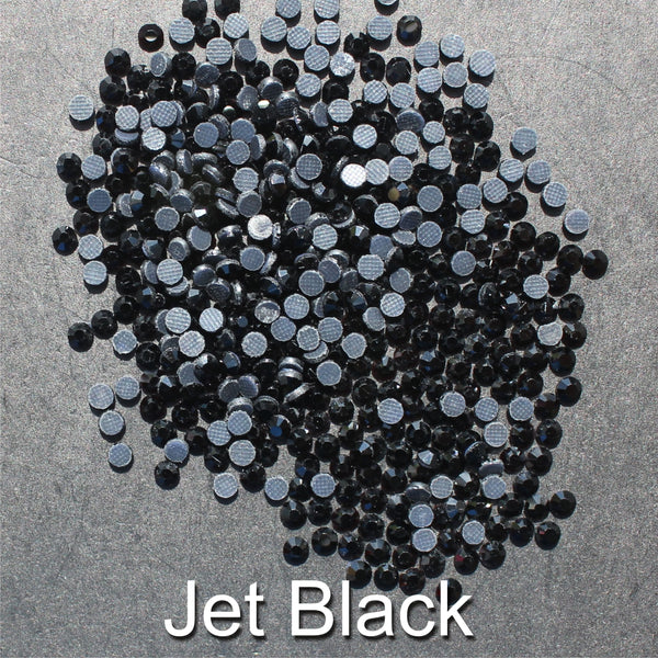 JET BLACK - TSS Bulk Wholesale Hotfix Iron on Rhinestone Flatback Premium Quality