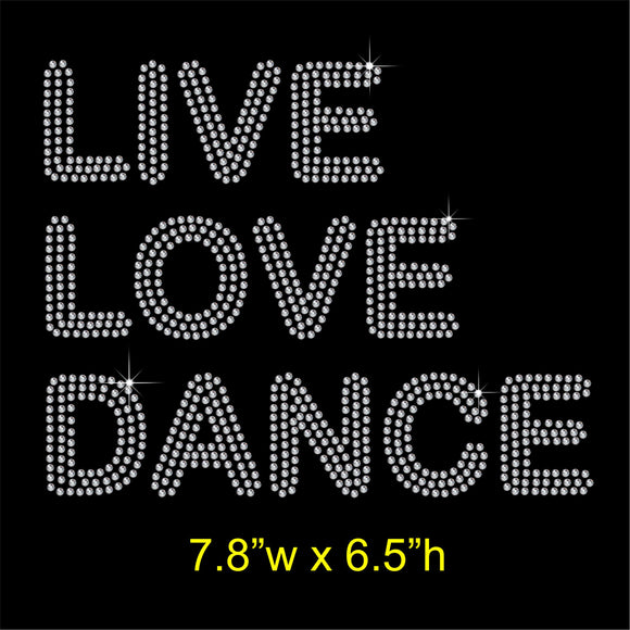LIVE LOVE DANCE Hotfix Rhinestone Transfer Diamante Motif, Iron on Applique