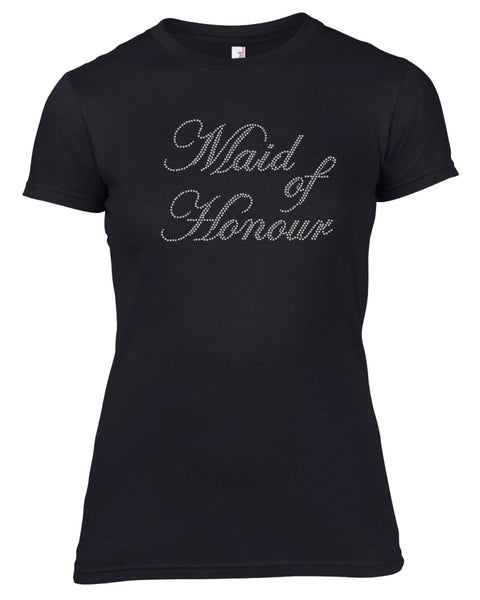 MAID OF HONOUR RHINESTONE EMBELLISHED HEN DO PARTY T SHIRT FOR LADIES