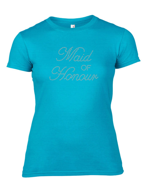 MAID OF HONOUR RHINESTONE EMBELLISHED HEN DO PARTY T-SHIRT FOR LADIES
