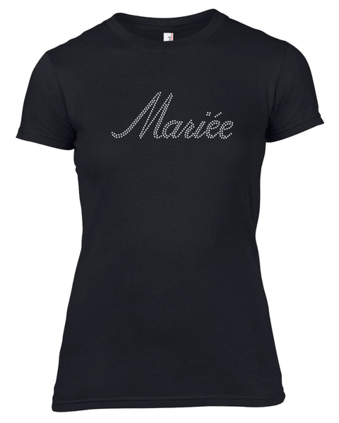 MARIEE RHINESTONE EMBELLISHED HEN DO PARTY T-SHIRT FOR LADIES