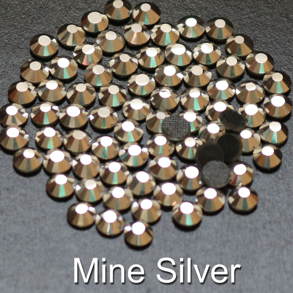 MINE SILVER - TSS Bulk Wholesale Hotfix Iron on Rhinestone Flatback Premium Quality