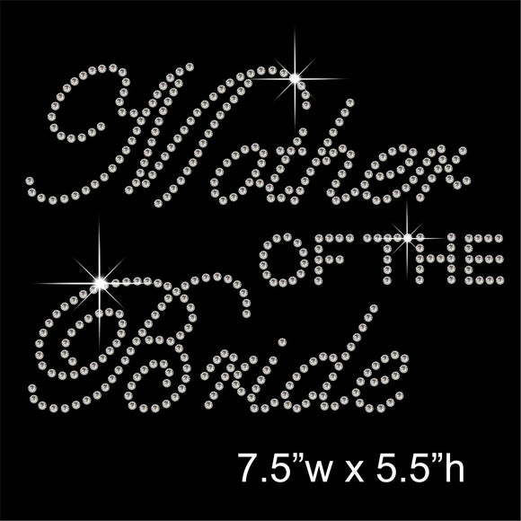Mother of the Bride Hotfix Rhinestone Transfer Diamante Motif, Iron-on Applique