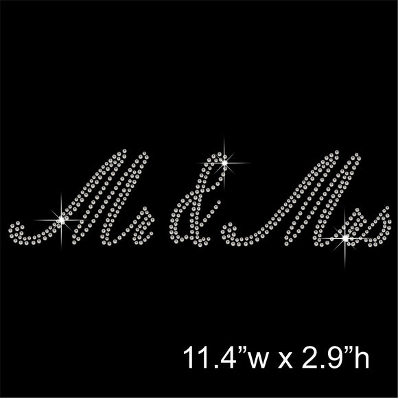 Mr & Mrs Hotfix Rhinestone Transfer Diamante Motif, Iron on Applique