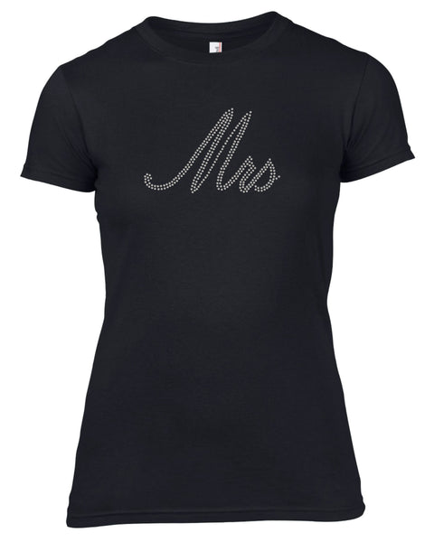 MRS RHINESTONE EMBELLISHED HEN DO PARTY T-SHIRT FOR LADIES