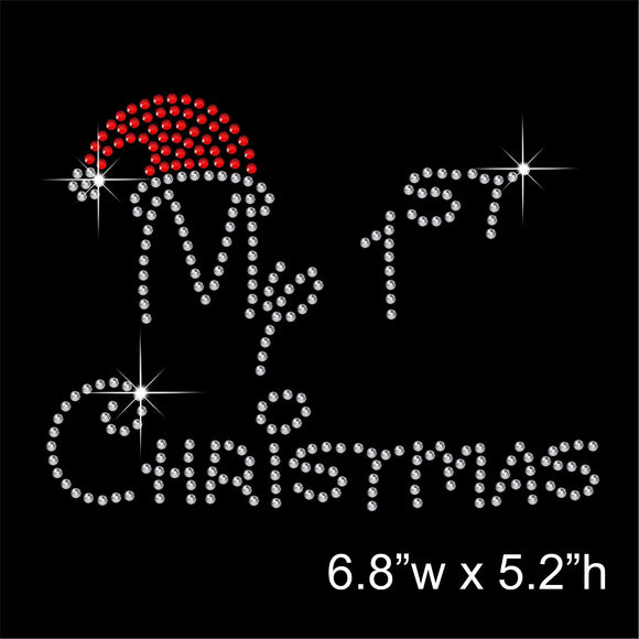 My 1st Christmas Hotfix Rhinestone Transfer Diamante Motif Iron-on Applique