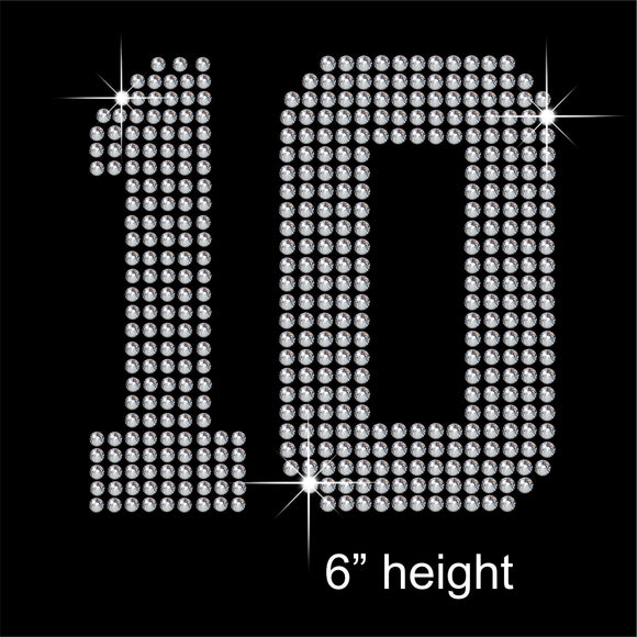 Number 10 Hotfix Rhinestone Transfer Diamante Motif, Iron-on Applique