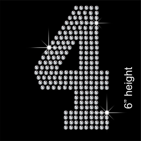 Number 4 Hotfix Rhinestone Transfer Diamante Motif, Iron-on Applique