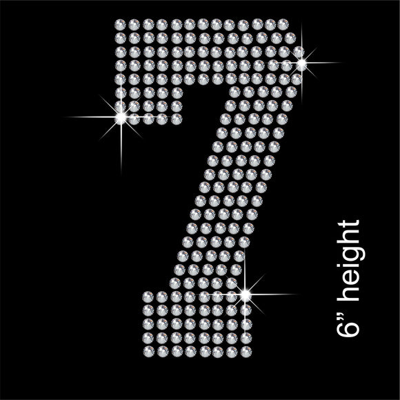 Number 7 Hotfix Rhinestone Transfer Diamante Motif, Iron-on Applique
