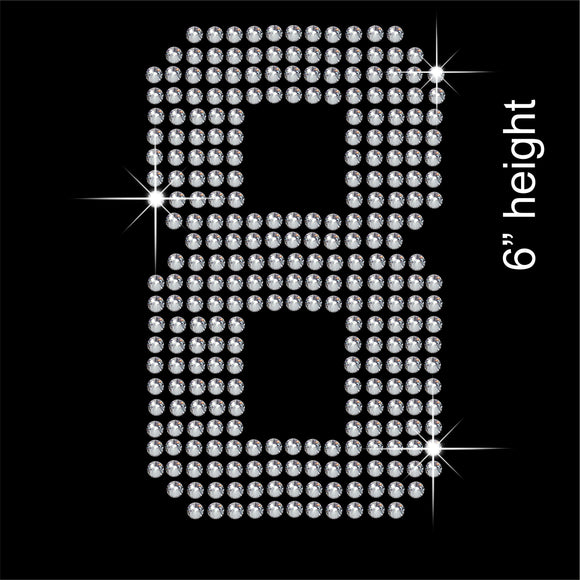 Number 8 Hotfix Rhinestone Transfer Diamante Motif, Iron-on Applique