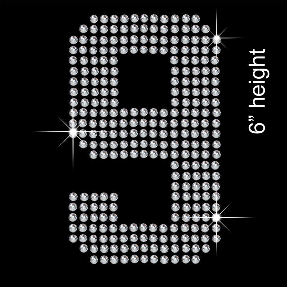 Number 9 Hotfix Rhinestone Transfer Diamante Motif, Iron-on Applique