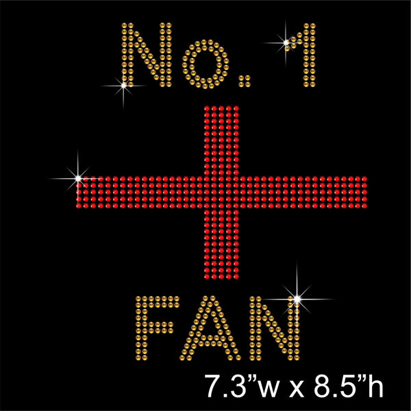 Number 1 England Fan Hotfix Rhinestone Transfer Diamante Motif, Iron-on Applique