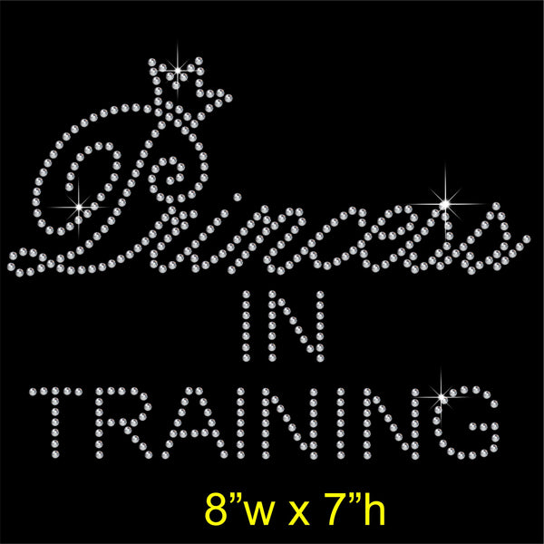 Princess in Training Hotfix Rhinestone Transfer Diamante Motif, Iron on Applique