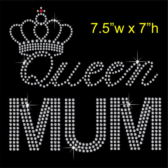 Queen MUM Hotfix Rhinestone Transfer Diamante Motif, Iron on Applique
