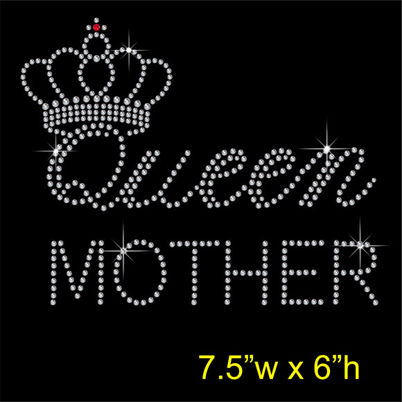 Queen MOTHER Hotfix Rhinestone Transfer Diamante Motif, Iron on Applique