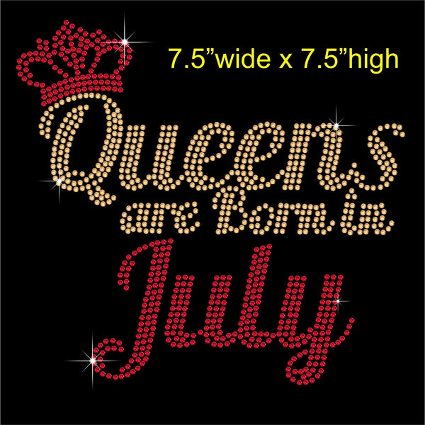 Queens are Born in July Hotfix Rhinestone Transfer Diamante Motif, Iron on Applique