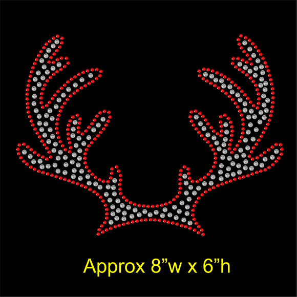 Christmas Reindeer Antlers Hotfix Rhinestone Transfer Diamante Motif Iron-on Applique
