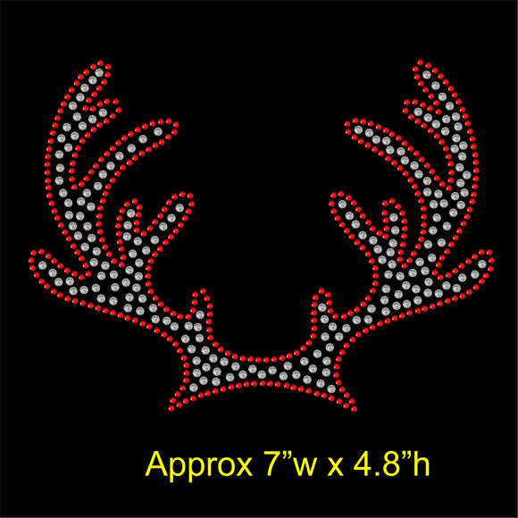 Christmas Reindeer Antlers Hotfix Rhinestone Transfer Diamante Motif Iron on Applique