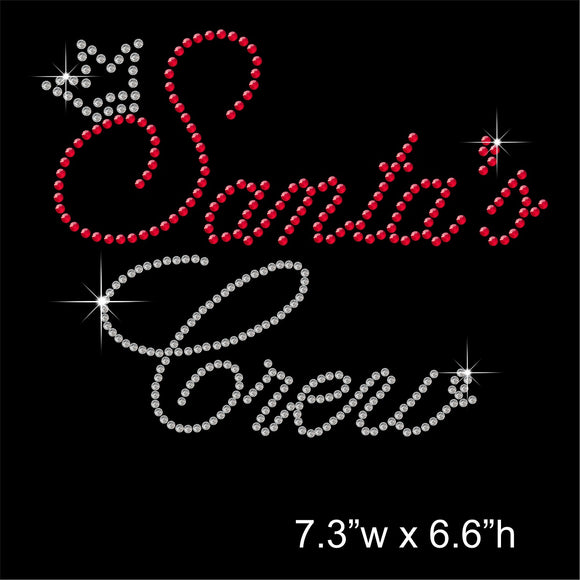 Christmas Santa's Crew Hotfix Rhinestone Transfer Diamante Motif Iron on Applique