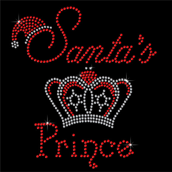 Christmas Santa's Prince Hotfix Rhinestone Transfer Diamante Motif Iron on Applique