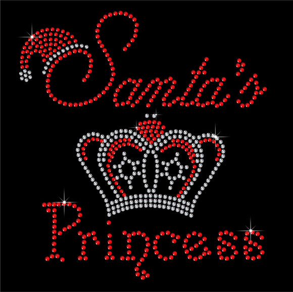 Christmas Santa's Princess Hotfix Rhinestone Transfer Diamante Motif Iron on Applique