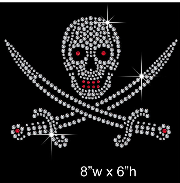 Skull & Sword Hotfix Rhinestone Transfer Diamante Motif, Iron-on Applique