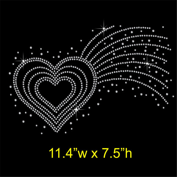 Shooting Love Heart Hotfix Rhinestone Transfer Diamante Motif Iron on Applique
