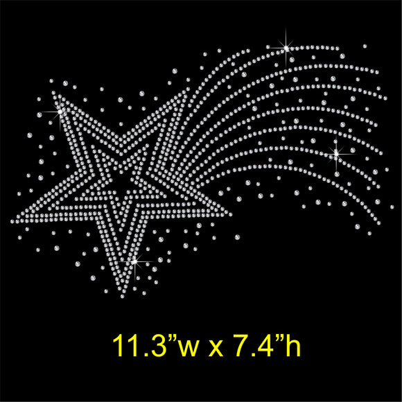 Shooting Star Hotfix Rhinestone Transfer Diamante Motif Iron on Applique