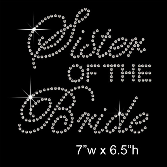 Sister of the Bride Hotfix Rhinestone Transfer Diamante Motif, Iron-on Applique