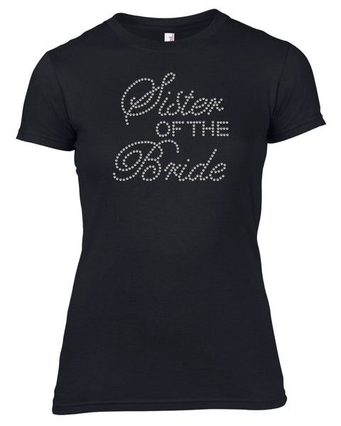 SISTER OF THE BRIDE RHINESTONE EMBELLISHED HEN DO PARTY T SHIRT FOR LADIES